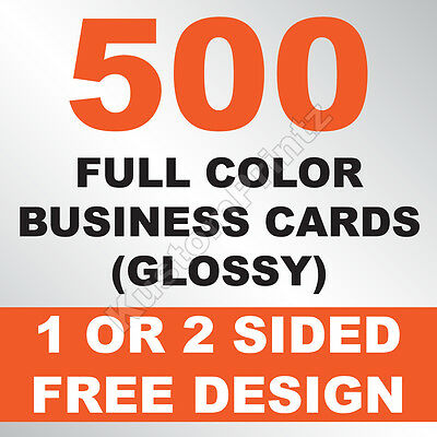 500 Custom Full Color Business Cards | 16Pt | Glossy Uv Finish | Free Design