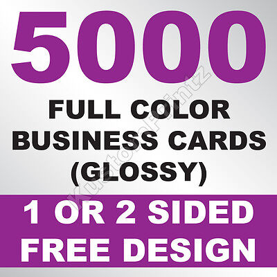 5000 Custom Full Color Business Cards | 16Pt | Glossy Uv Finish | Free Design