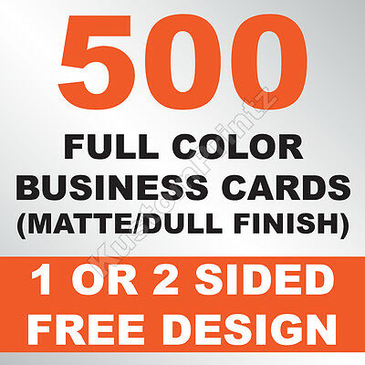 500 Custom Full Color Business Cards | 16Pt | Matte Dull Finish | Free Design