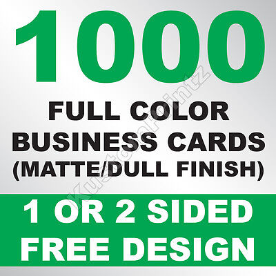 1000 Custom Full Color Business Cards | 16Pt | Matte Dull Finish | Free Design