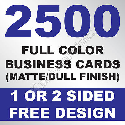 2500 Custom Full Color Business Cards | 16Pt | Matte Dull Finish | Free Design