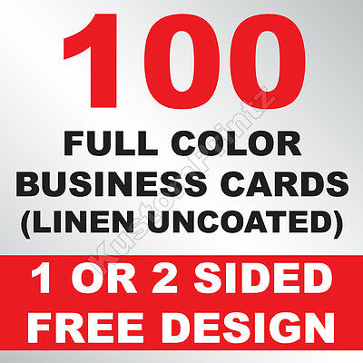 100 Custom Full Color Business Cards | 100Lb Linen Uncoated | Free Design