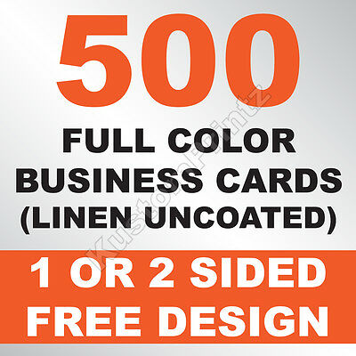 500 Custom Full Color Business Cards | 100Lb Linen Uncoated | Free Design