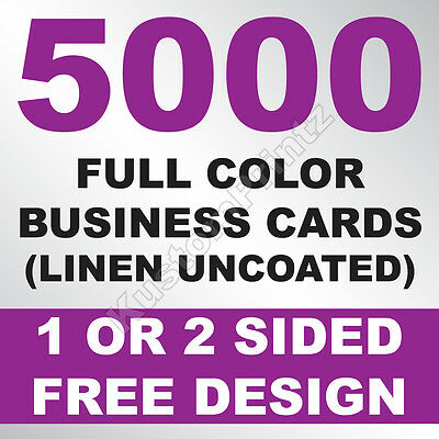 5000 Custom Full Color Business Cards | 100Lb Linen Uncoated | Free Design