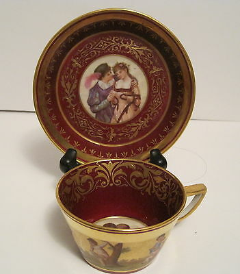 KPM Cabinet Style Cup & Saucer Beautifully Decorated with Portraits H.P. Gilding
