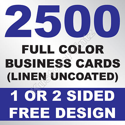 2500 Custom Full Color Business Cards | 100Lb Linen Uncoated | Free Design