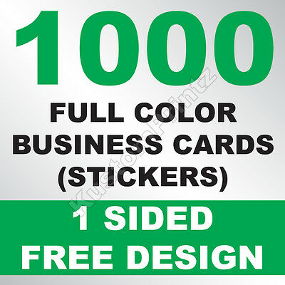 1000 Custom Full Color Business Card Stickers | Glossy Uv Finish | Free Design