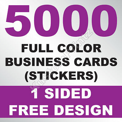 5000 CUSTOM FULL COLOR BUSINESS CARD STICKERS   GLOSSY UV FINISH   FREE DESIGN