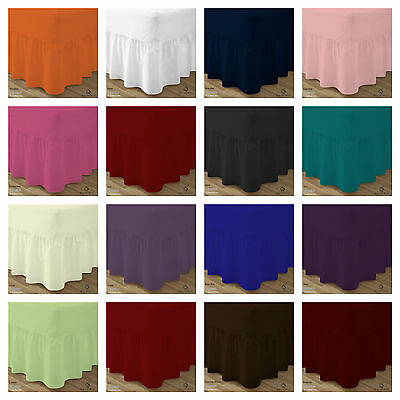 Plain Dyed 100%  Poly-Cotton Fitted Valance Sheet Frilled ,single✔ Double✔King
