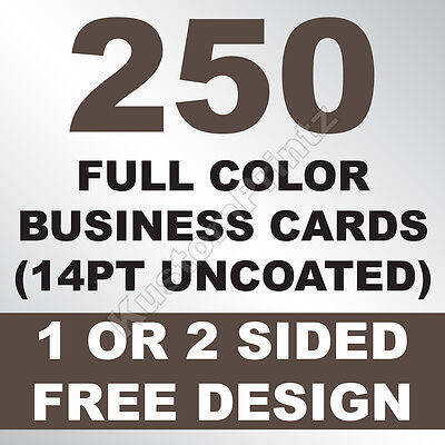 250 Custom Full Color Business Cards | 14Pt Uncoated | Free Design