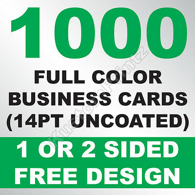 1000 Custom Full Color Business Cards | 14Pt Uncoated | Free Design