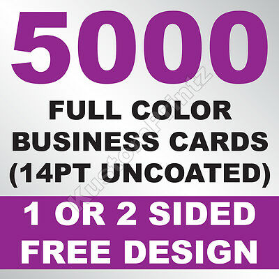 5000 Custom Full Color Business Cards | 14Pt Uncoated | Free Design