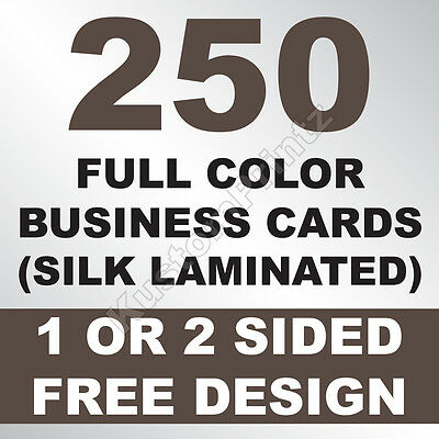 250 Custom Full Color Business Cards | 16Pt Silk Laminated Finish | Free Design