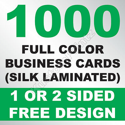 1000 Custom Full Color Business Cards | 16Pt Silk Laminated Finish | Free Design