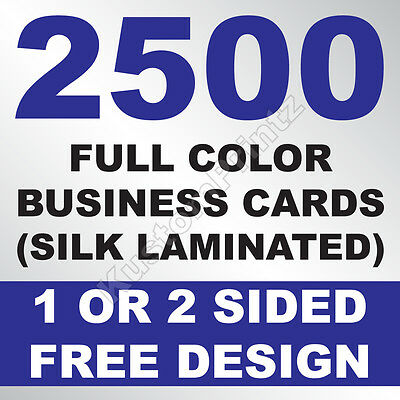 2500 Custom Full Color Business Cards | 16Pt Silk Laminated Finish | Free Design