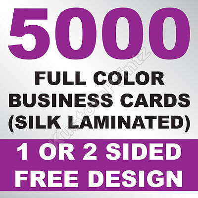5000 Custom Full Color Business Cards | 16Pt Silk Laminated Finish | Free Design