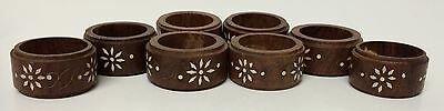 8 Vintage Wooden Napkin Rings White Inlay Floral Flowers Made In India