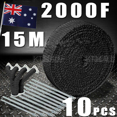 AU Local   WRAP 50MM X 15M + 10 STAINLESS STEEL TIES 2000F BLACK EXHAUST HEAT