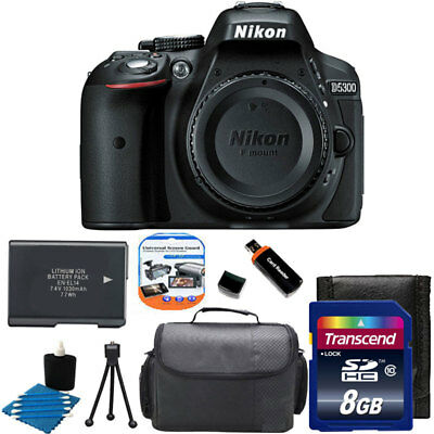 Nikon D5300 24MP CMOS Digital SLR Camera w/ Wi-Fi +Extra Battery +8GB SD Top Kit