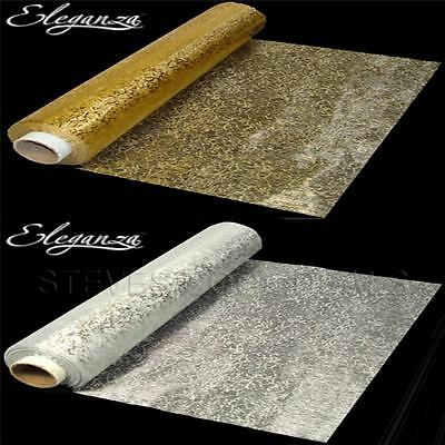 GOLD SILVER Bullion LUXURY Organza Fabric XMAS Swags Sheer Table Runners Bows