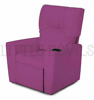 PURPLE RECLINER KIDS/CHILDRENS ARMCHAIR/GAMES CHAIR/SOFA/SEAT in PU LEATHER LOOK