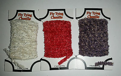 Fly Tying Sparkle Chenille Yarn 3 cards White Red and Charcoal