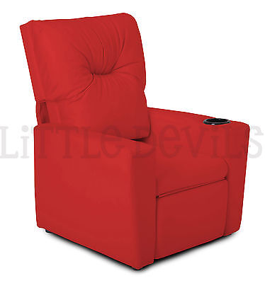 RED RECLINER KIDS/CHILDRENS ARMCHAIR/GAMES CHAIR/SOFA/SEAT in PU LEATHER LOOK