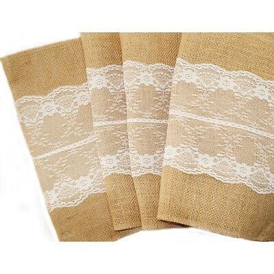 New Burlap Hessian Lace Centre Wedding Table Runner Vintage Rustic Country