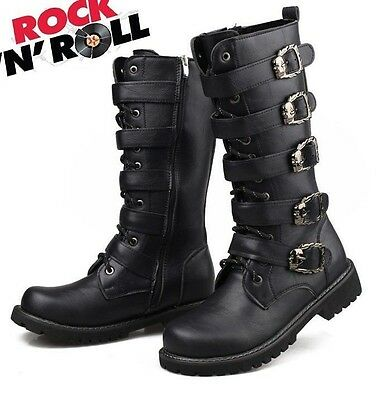 2017 Sreet PUNK Rock Fashion--MEN TOP COOL # High Knee Motorcycle Army Boot-ROLL