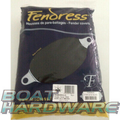 2 x FENDER COVERS PAIR BLACK Medium 600x180mm Fender Socks Mooring Boat Yacht