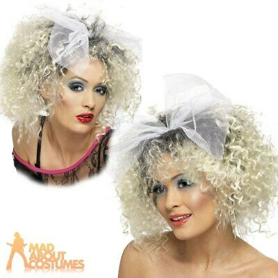 80s Wild Child Madonna Wig With Bow Blonde Adult Fancy Dress Womens Ladies