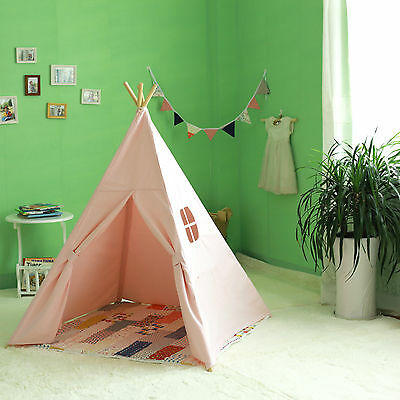 Square Cotton Canvas Kids Girls Pink Teepee Outdoor Tent w/ Floor Mat & Flags