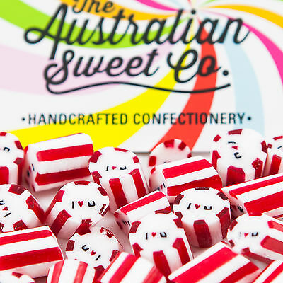 500g Gourmet I Love You Rock Candy Bulk lollies Valentine Party Wedding Favours