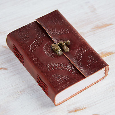 Indra Fair Trade Handmade Medium Embossed Leather Journal With Clasp