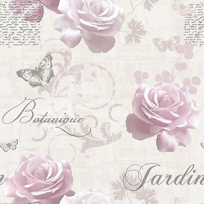 Luxary Muriva Botanical Garden Pink Rose Wallpaper 127502 Script Rose Butterfly
