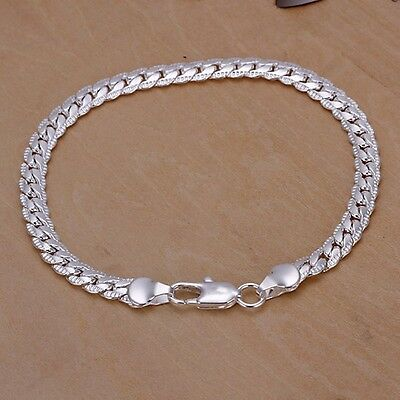Free Shipping! Mens Silver Plated Simple Style Sideway Bracelet Handchain M-H56