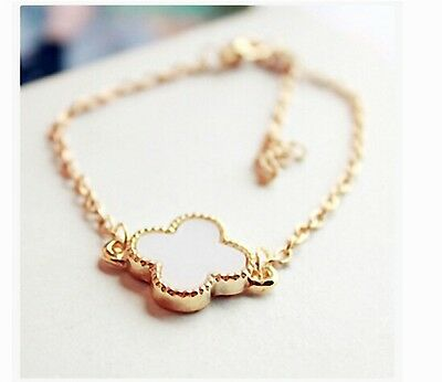 Free Shipping Womens 14K Yellow Gold Plated Four-Leaf Clover Shape Bracelet P95