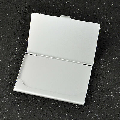 Business ID Credit Card Case Metal Fine Box Holder Stainless Steel Pocket silver