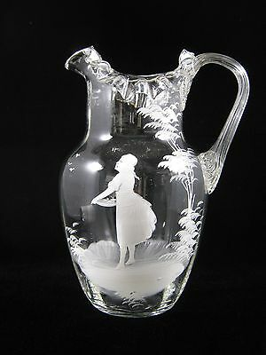 Antique Victorian Bohemian Blown Art Glass Pitcher Mary Gregory Hand Painted