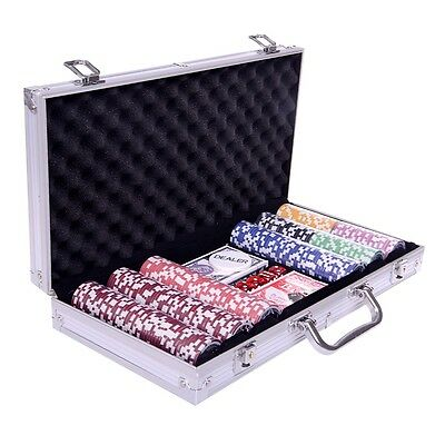 New Professional 300pcs Poker Chip Set w/ AL case & 2 Games Card Free Shipping