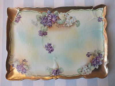Royal Vienna Dresser Vanity Porcelain Tray, Yellow, Purple Violets, Very Pretty!