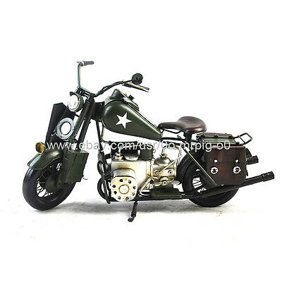 Handmade Military Motorcycle 1:6 Tinplate Antique Style Metal Model
