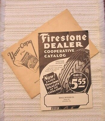 Antique Vintage 1929-30 FIRESTONE DEALER Cooperative Catalog w/ Envelope 14 Pgs