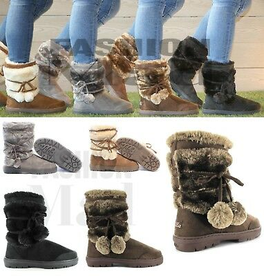 ELLA Womens Ladies Girls Ankle Flat Faux Fur Lined Boots Warm Winter SIZE 3-9