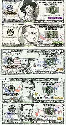 THE WESTERN REPUBLIC OF GAMBLING 5 different uncirculated fantasy notes lot