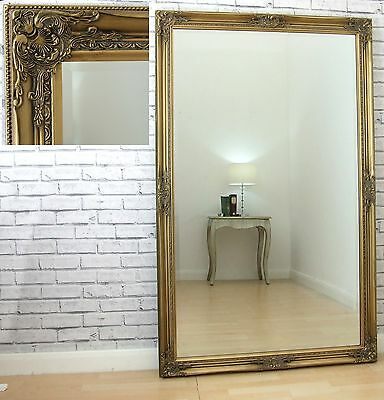 """Leon Ornate Extra Large Full Length Vintage Wall Leaner Mirror Gold 40"""" x 64"""""""