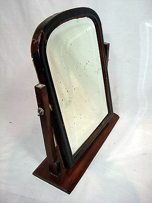 Antique Vintage Large Vanity Dressing Tabletop Shaving Wooden Swivel Mirror