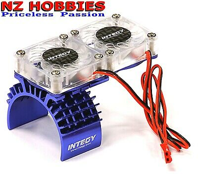 Integy Motor Heatsink + Twin Cooling Fan for Traxxas 1/10 Slash 4X4 # T8534BLUE