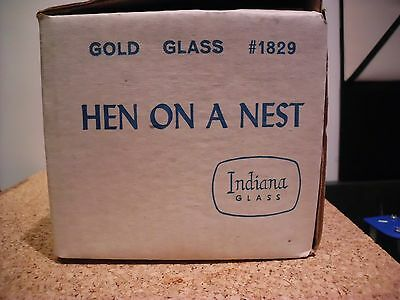 Vintage Indiana Glass Iridescent GOLD AMBER CANDY DISH Hen On A Nest
