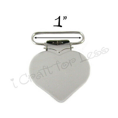 10 Heart Suspender Paci Pacifier Holder Mitten Clips - 1 Inch w/ Inserts